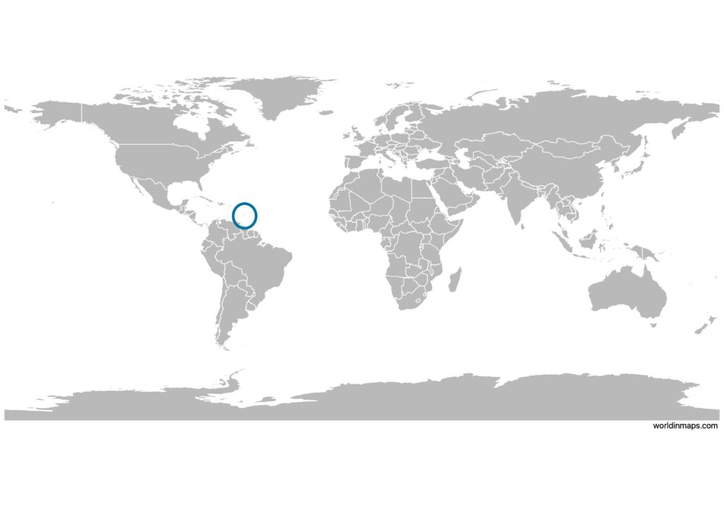 Barbados on the world map