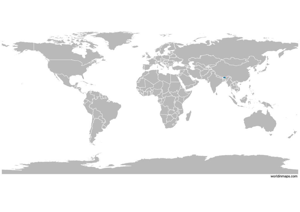 Bhutan on the world map