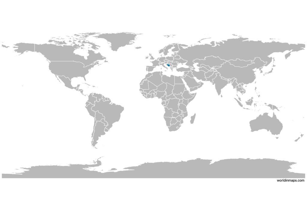 Bosnia and Herzegovina on the world map