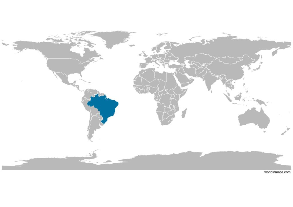 Brazil on the world map
