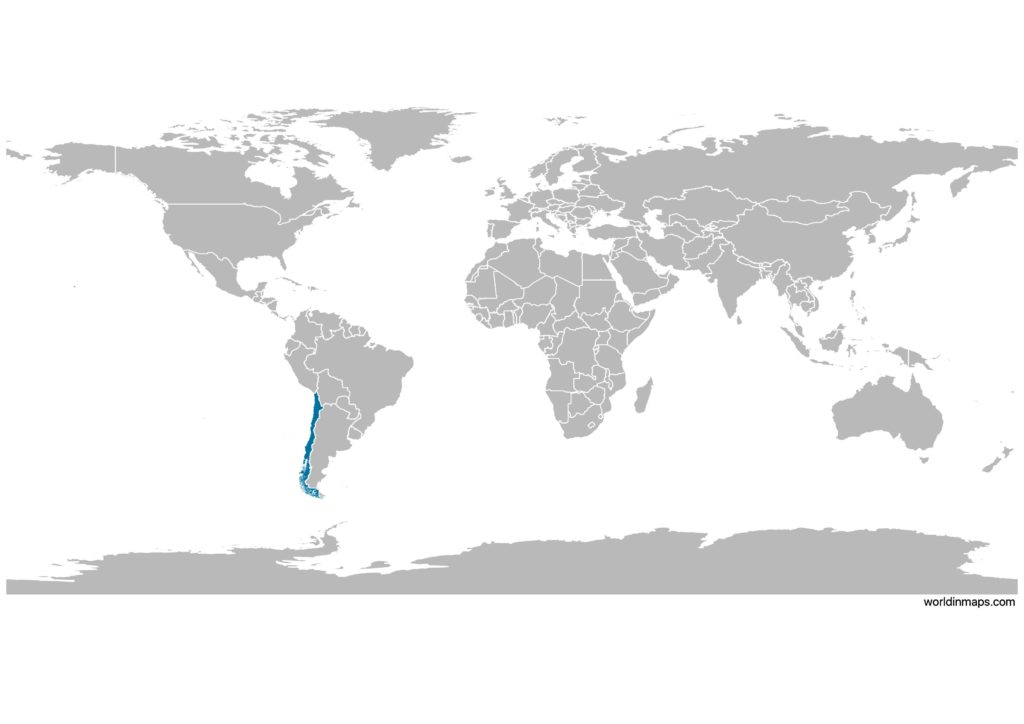 Chile on the world map