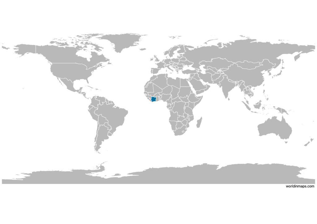 Côte d'Ivoire on the world map