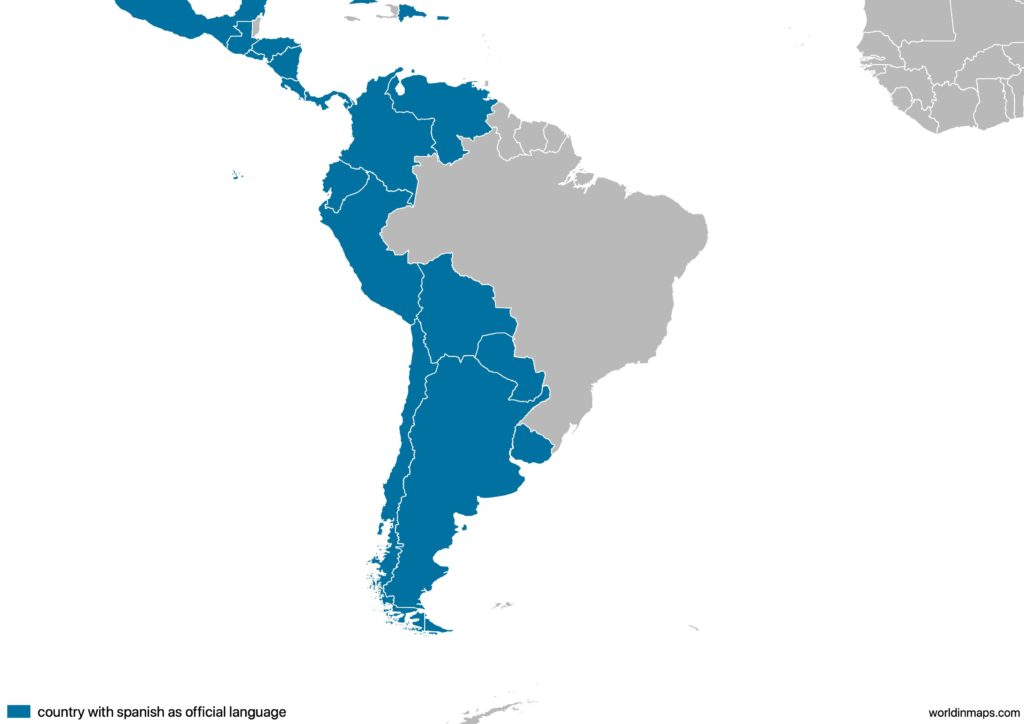 Map of the countries in South America with Spanish as official language