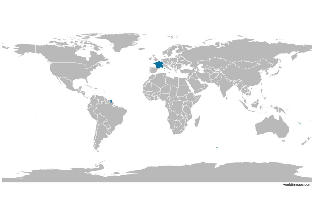 France on the world map