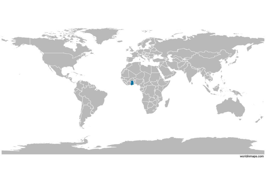 Ghana on the world map