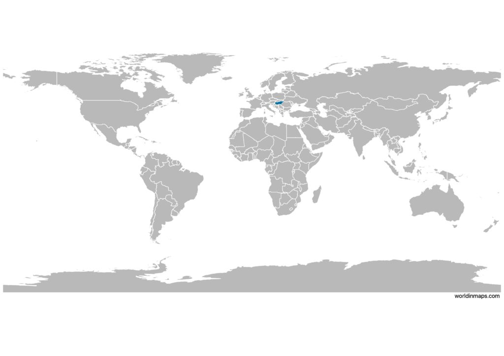 Hungary on the world map