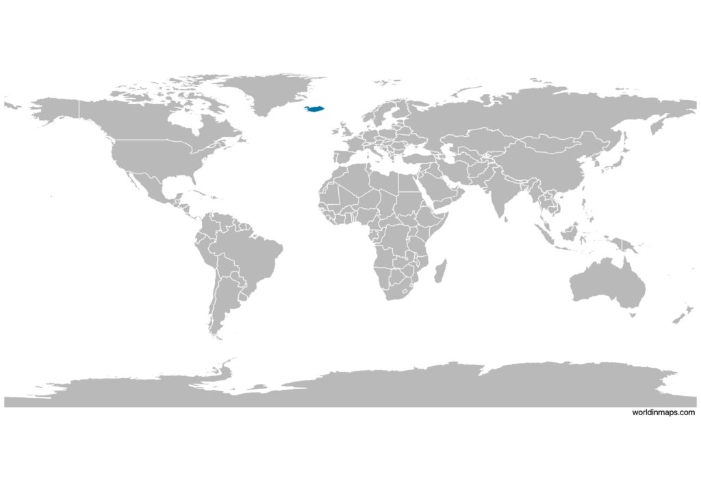 Iceland on the world map