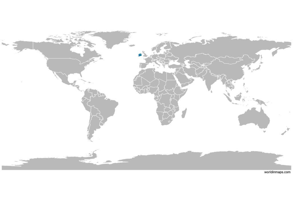 Ireland on the world map