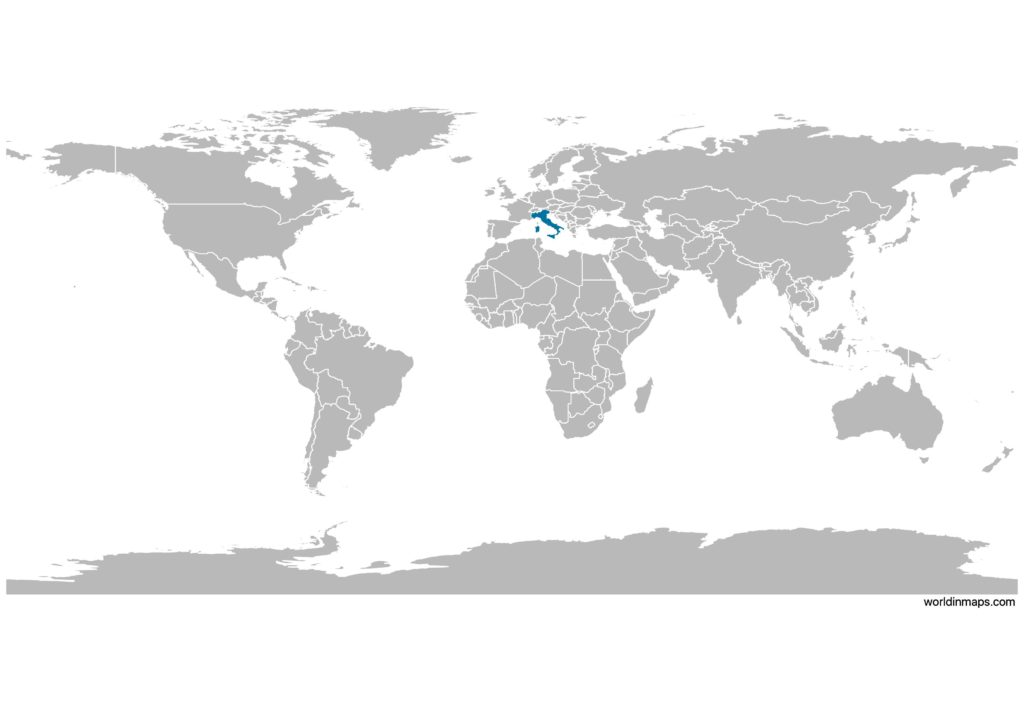 Italy on the world map