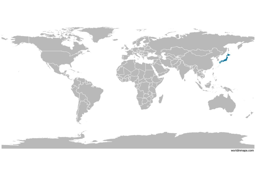 Japan on the world map