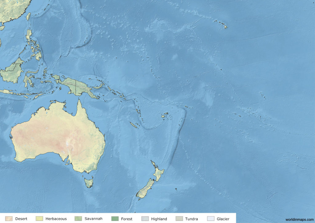 Land cover map of Oceania