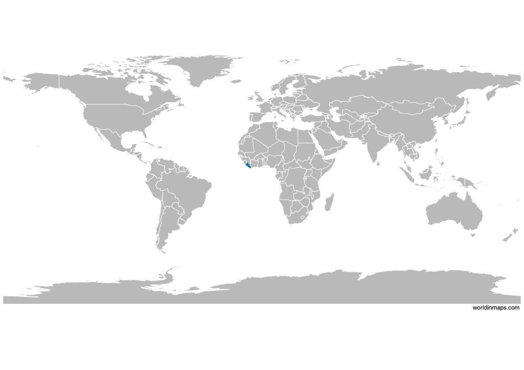 Liberia on the world map