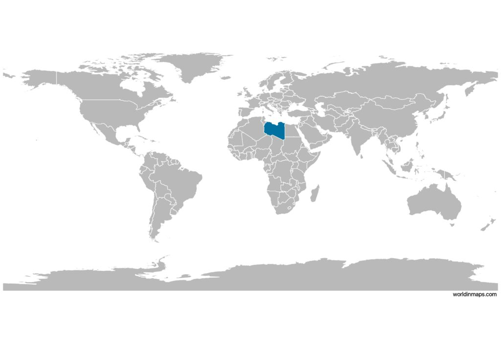 Libya on the world map
