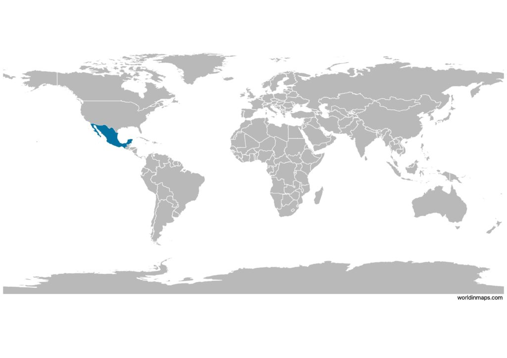 Mexico on the world map