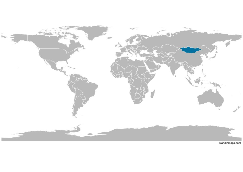 Mongolia on the world map