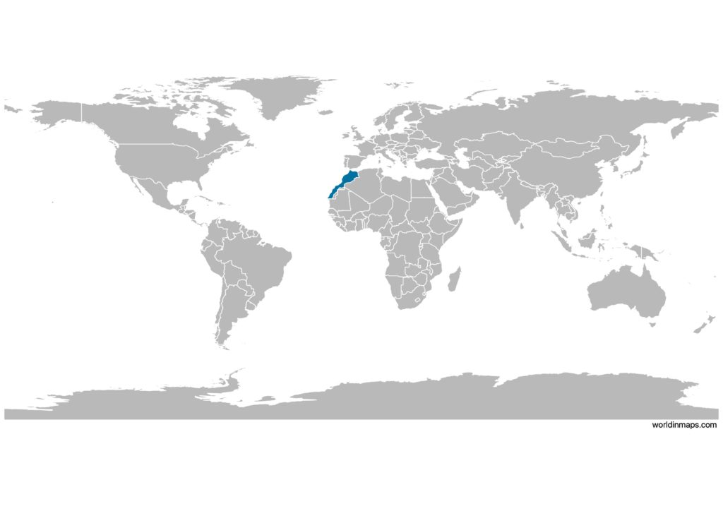 Morocco on the world map