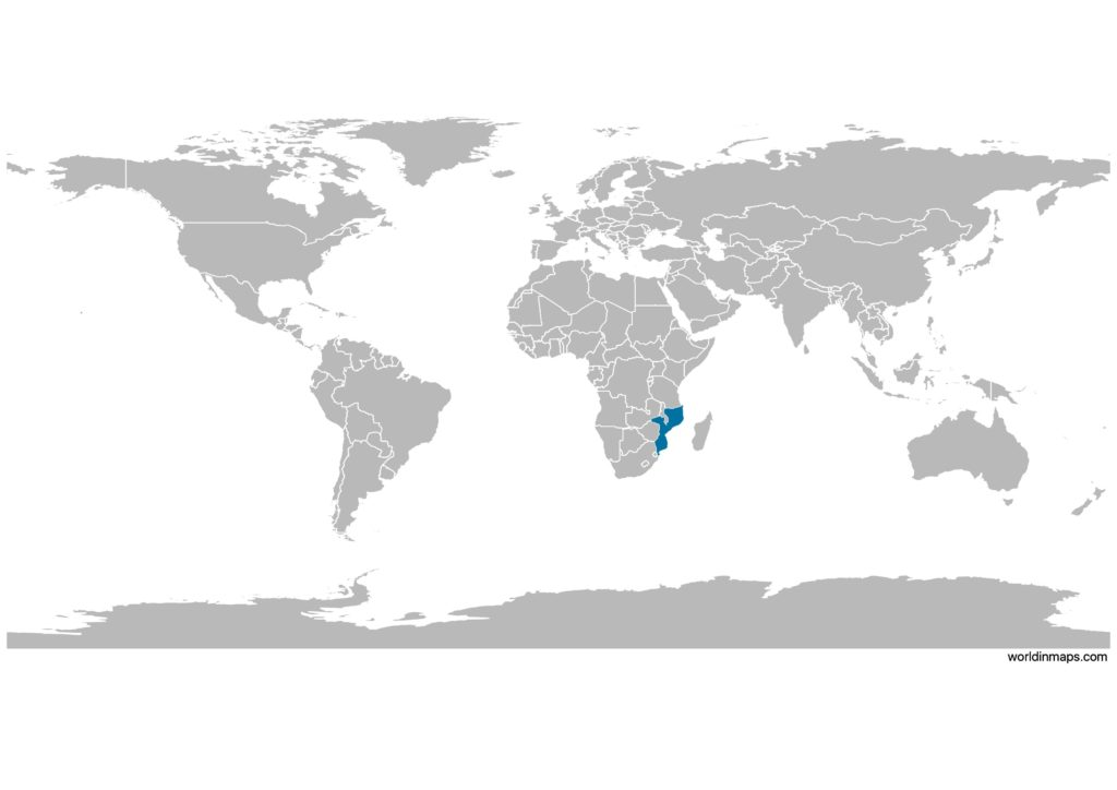 Mozambique on the world map