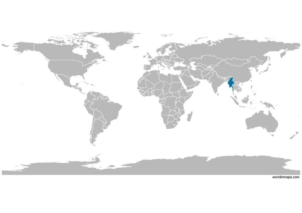 Myanmar on the world map
