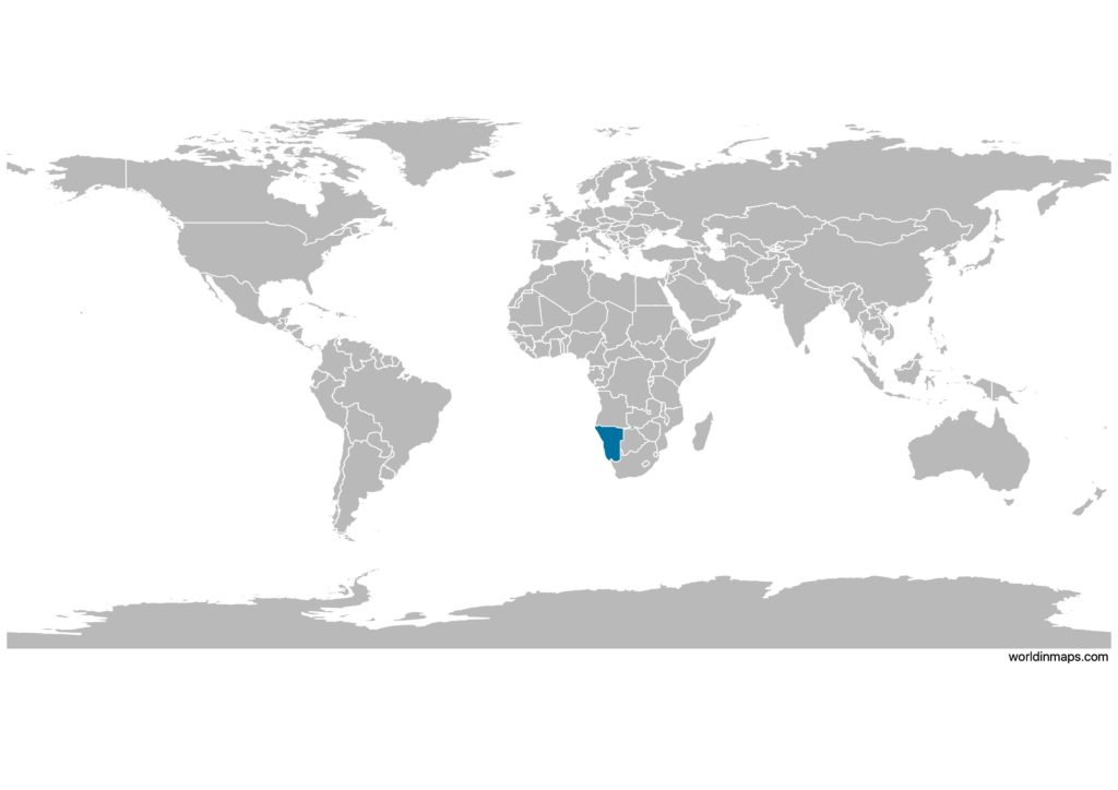 Namibia on the world map