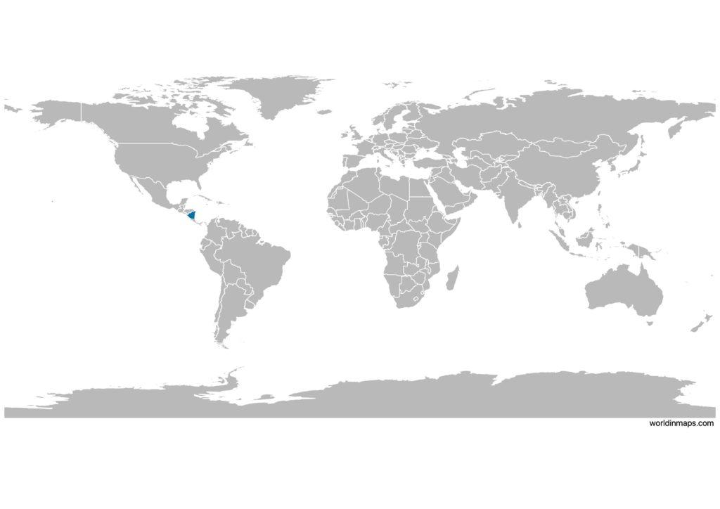 Nicaragua on the world map