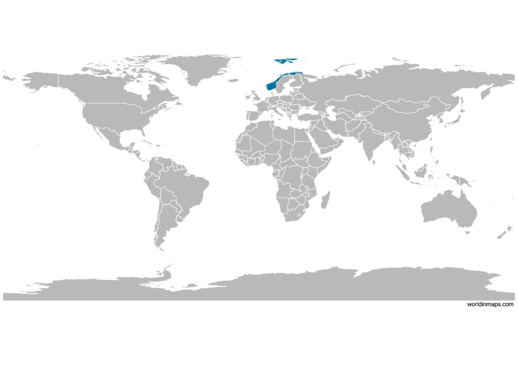 Norway on the world map