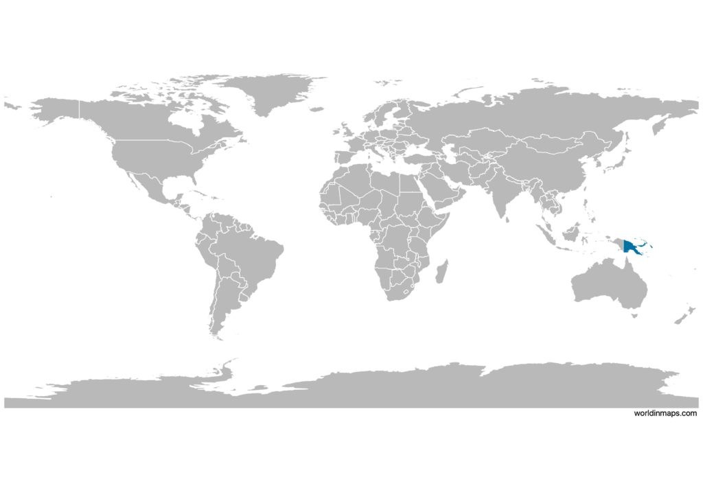 Papua New Guinea on the world map