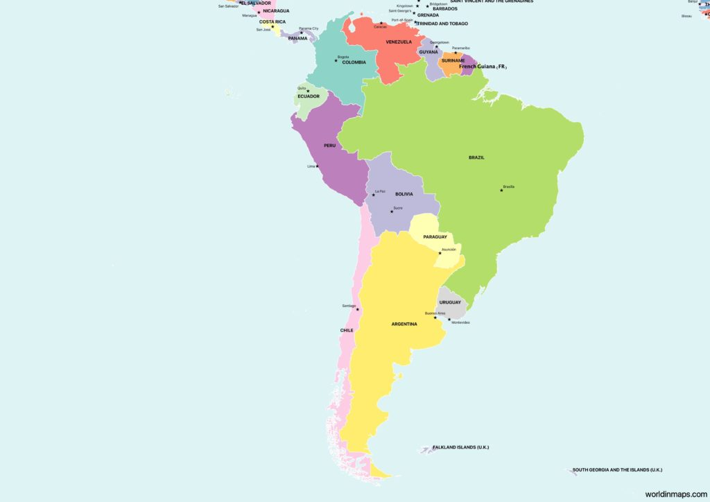 Political map of South America