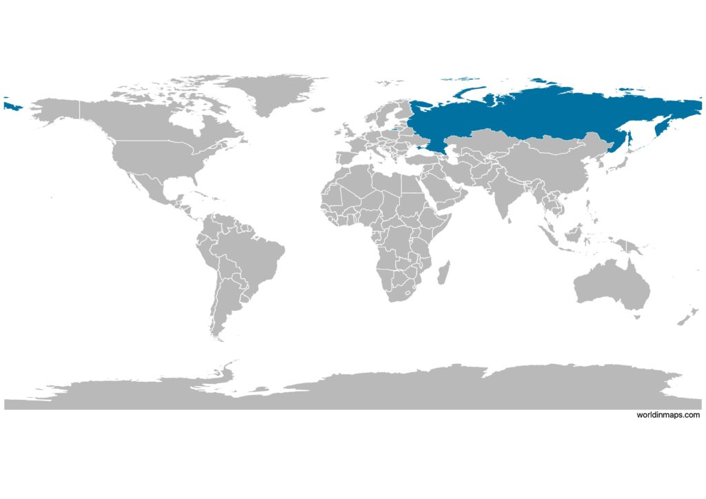 Russia on the world map