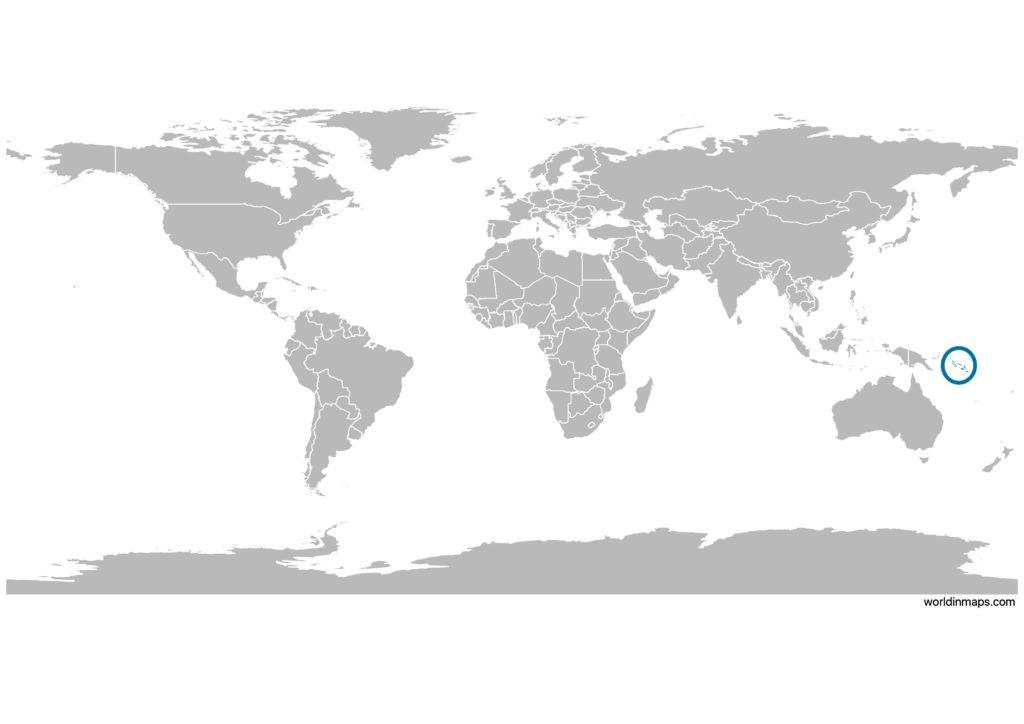 Solomon Islands on the world map