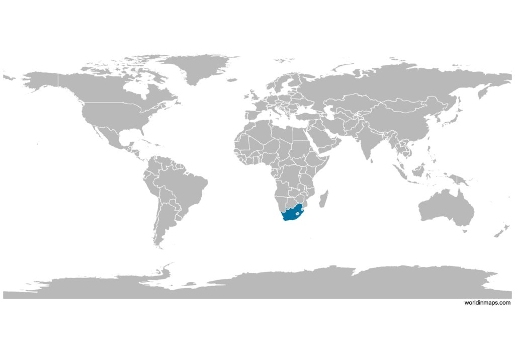 South Africa on the world map