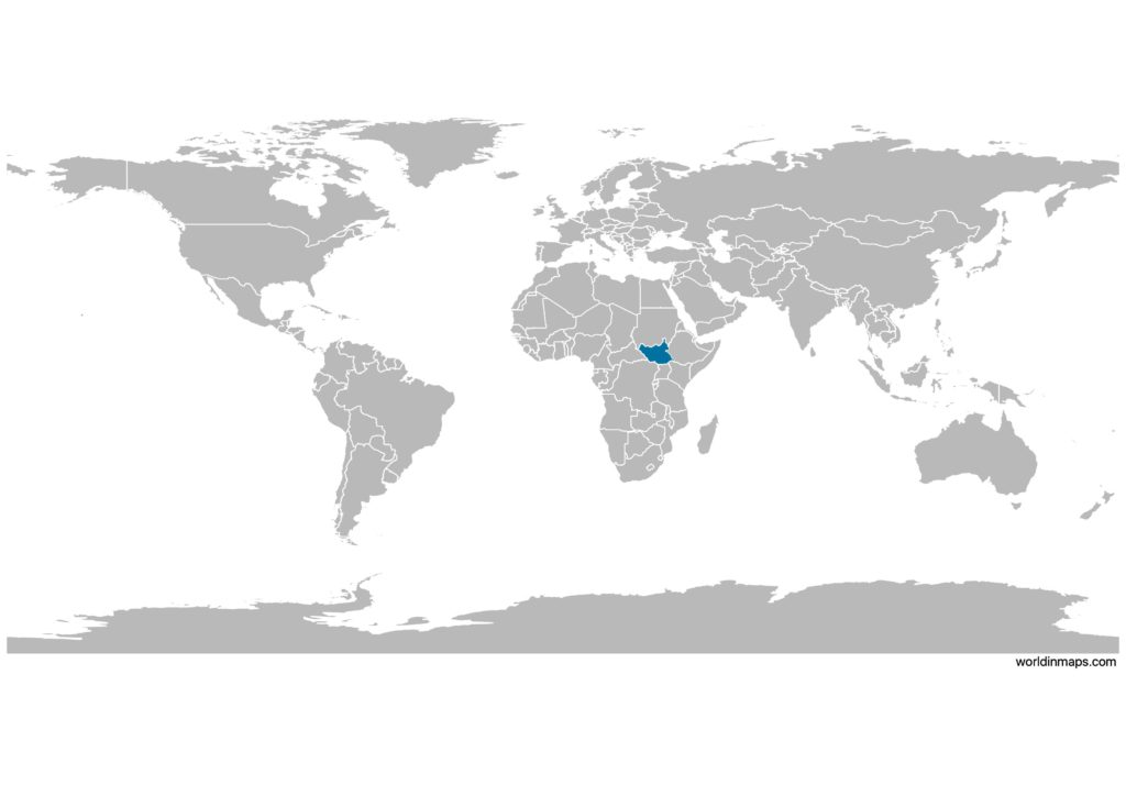 South Sudan on the world map