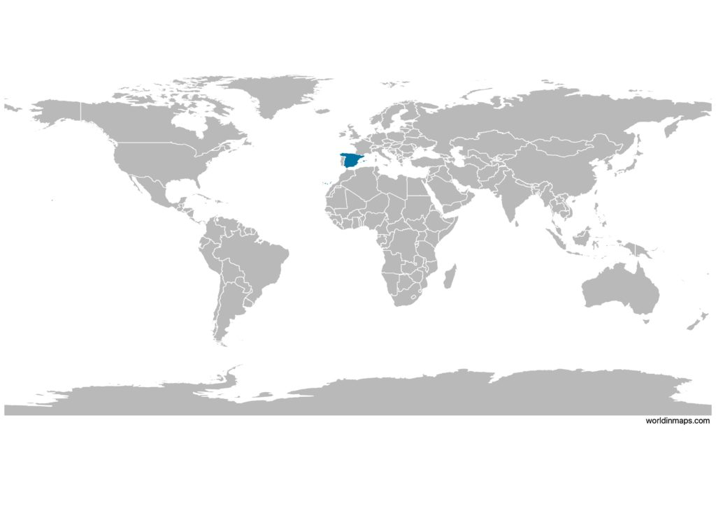 Spain on the world map