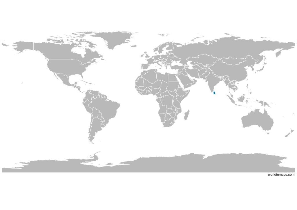 Sri Lanka on the world map
