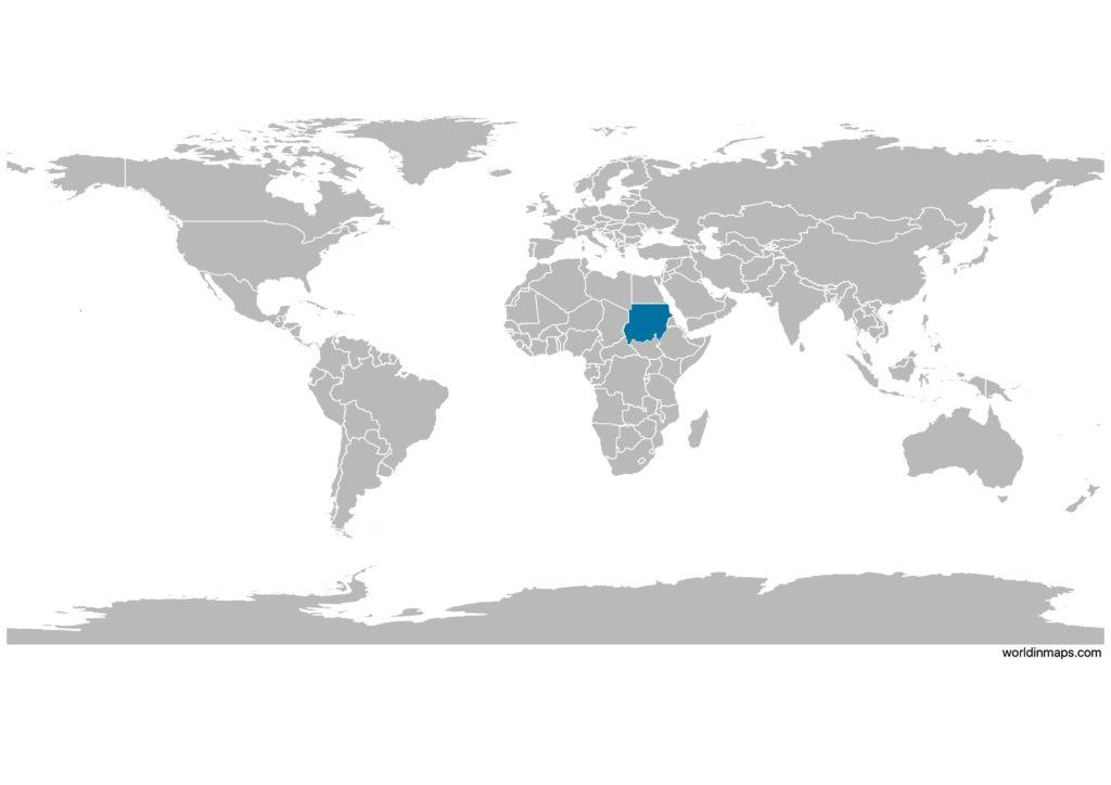 Sudan on the world map