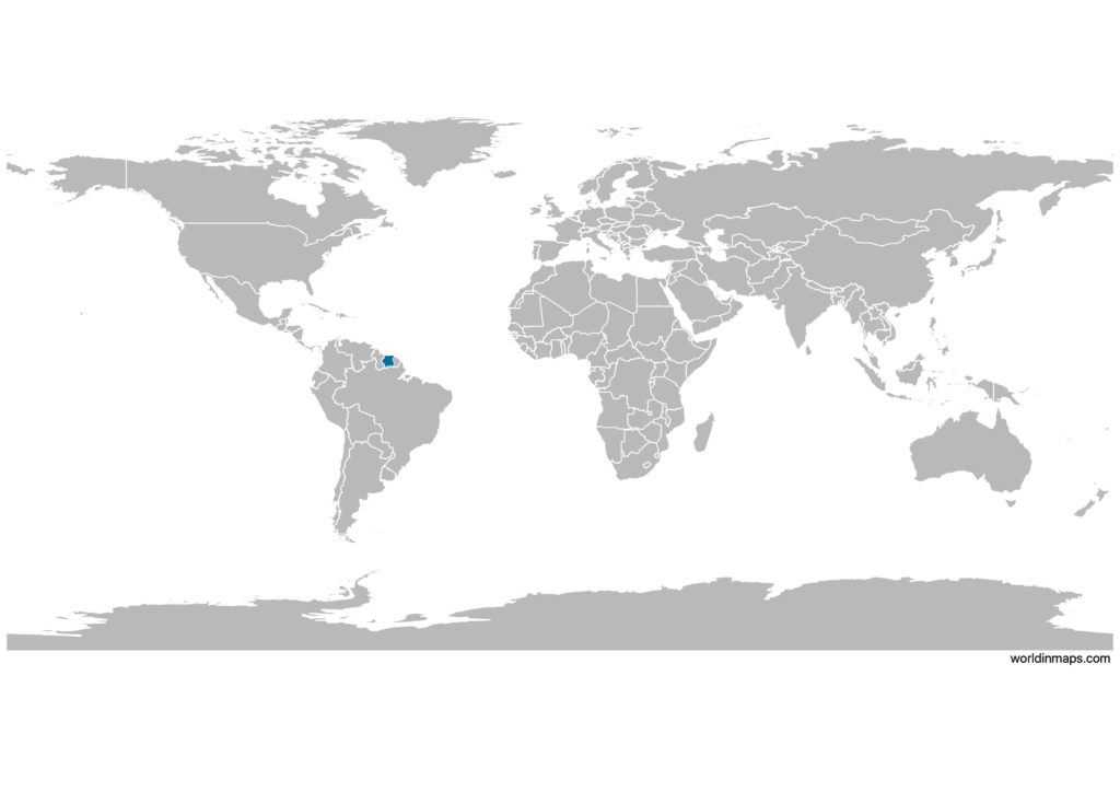 Suriname on the world map