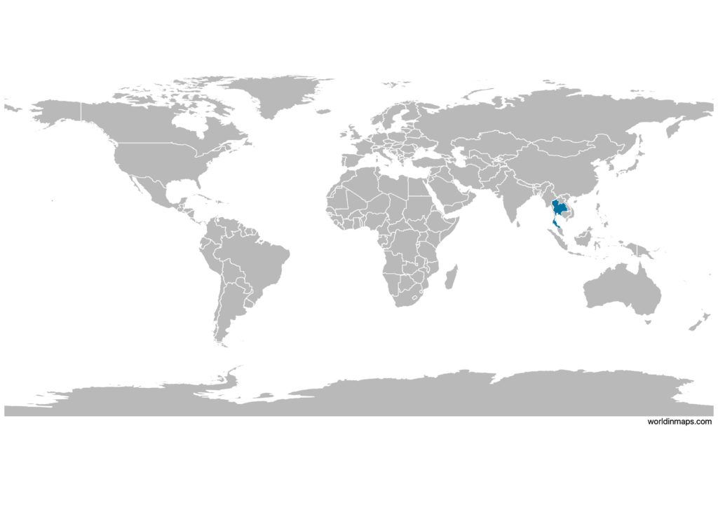 Thailand on the world map