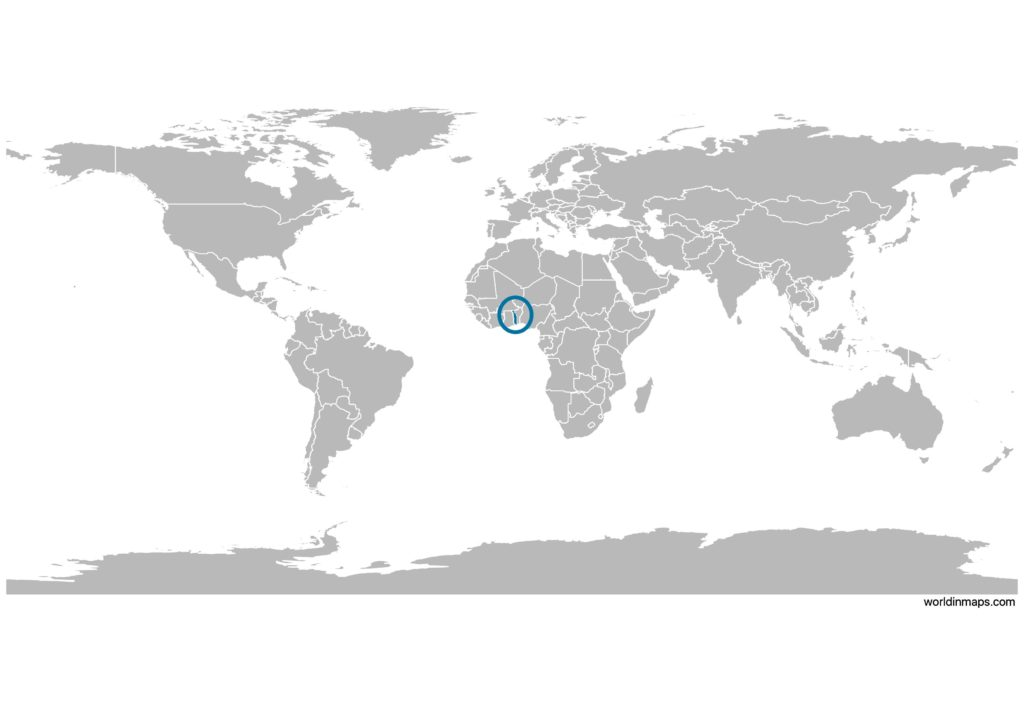 Togo on the world map
