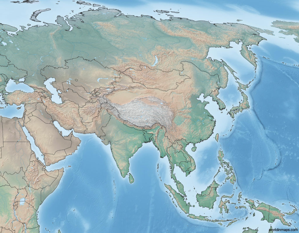 Topographic map of Asia