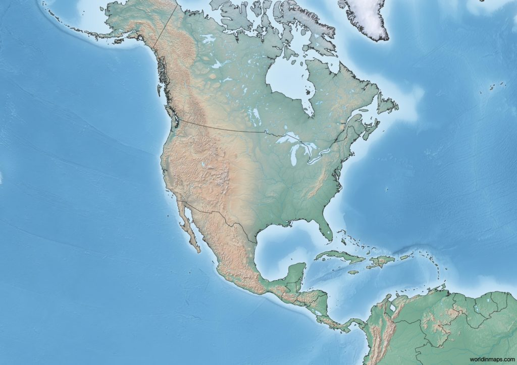 Topographic map of North America