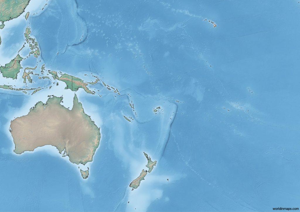 Topographic map of Oceania