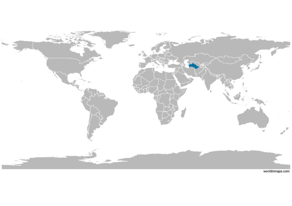 Turkmenistan on the world map