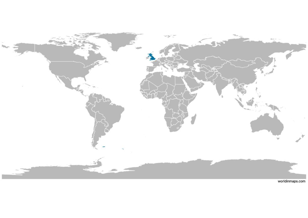 United Kingdom (UK) on the world map