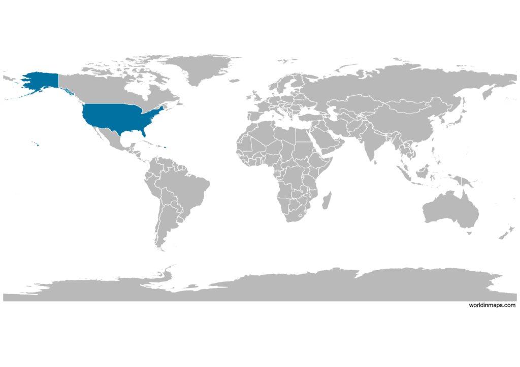 United States (US) on the world map