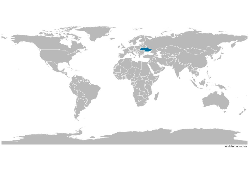 Ukraine on the world map