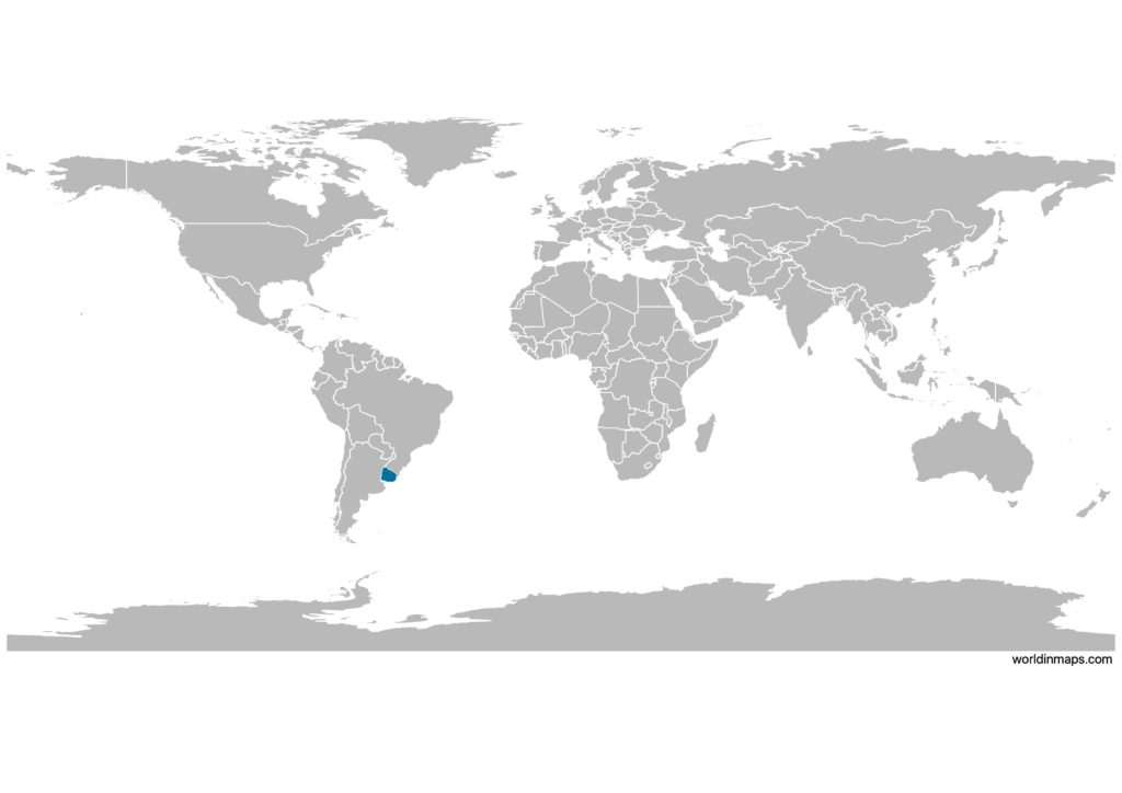 Uruguay on the world map