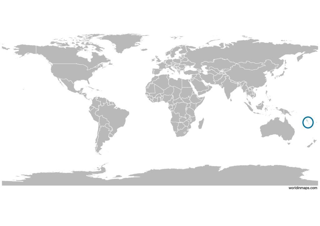 Vanuatu on the world map