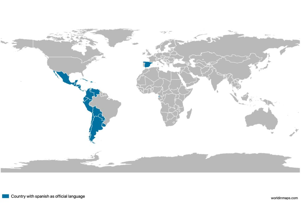 World map of countries with Spanish as official language
