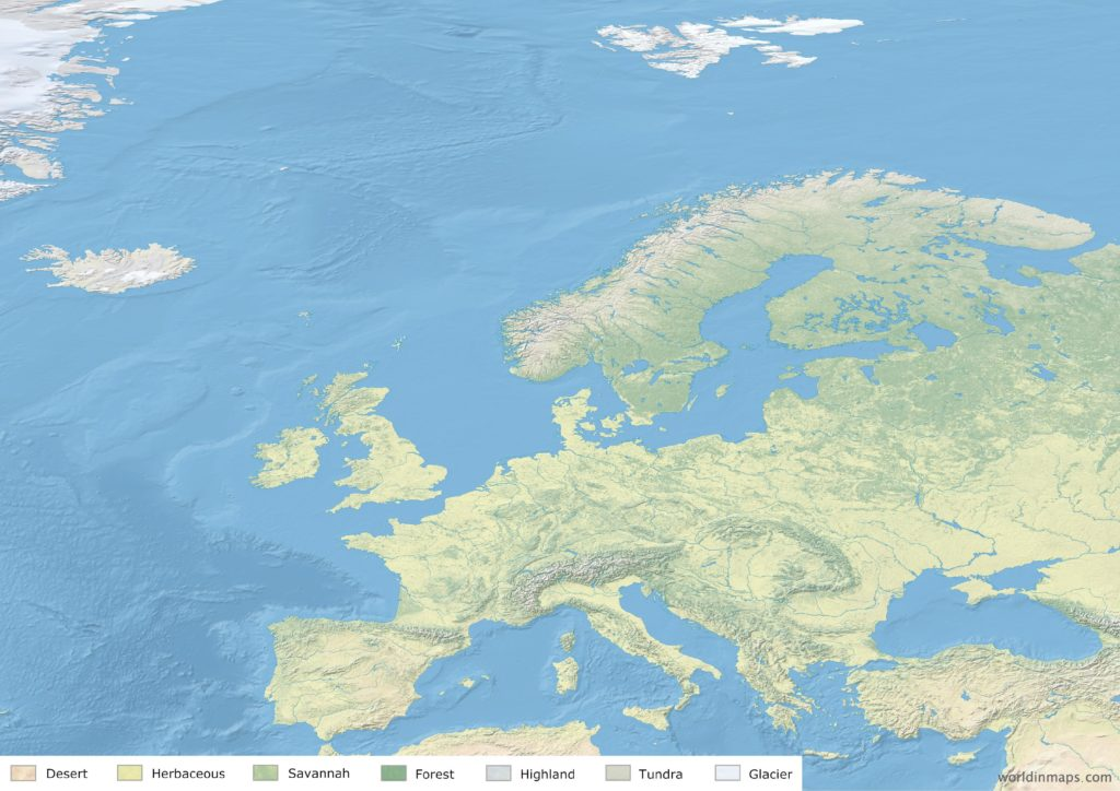 Land cover map of Europe