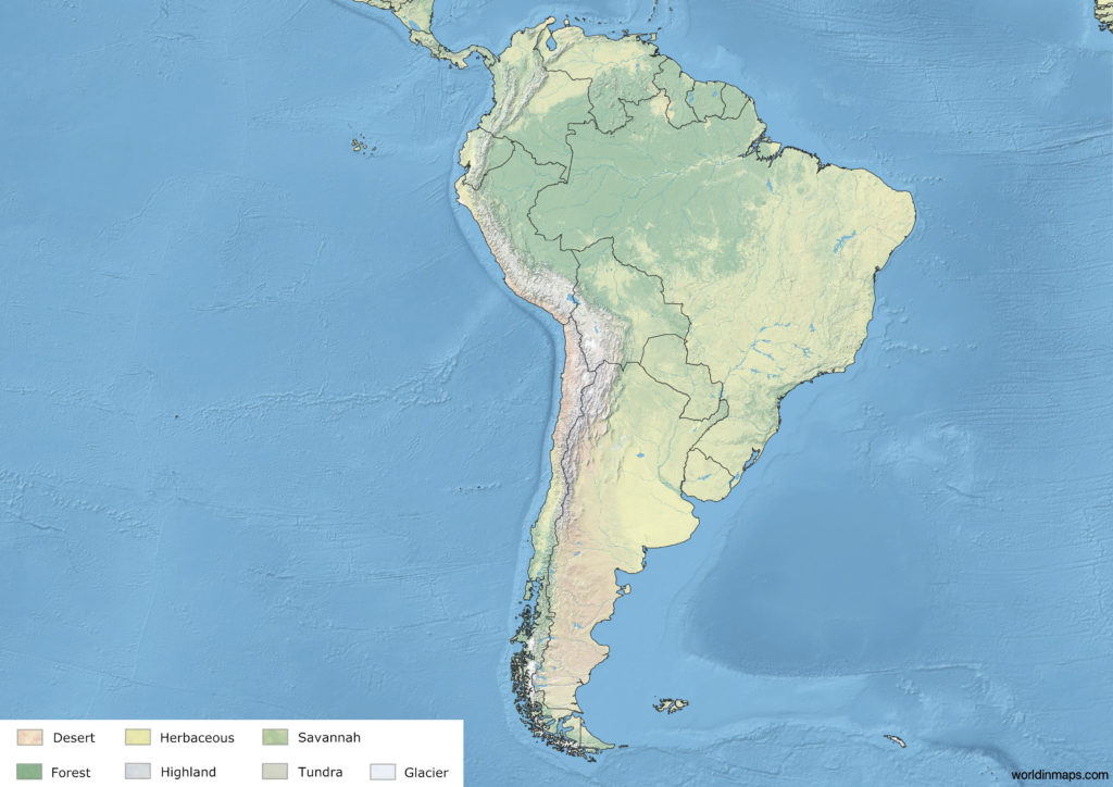 Land cover map of South America