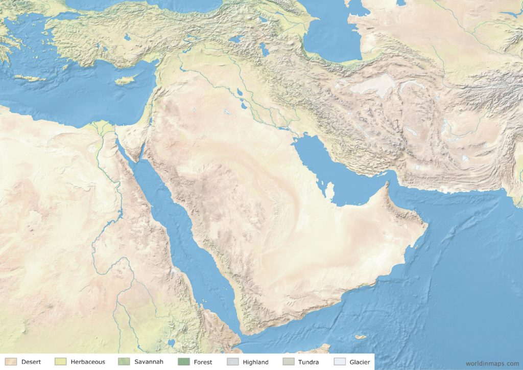 Land cover map of the Middle East